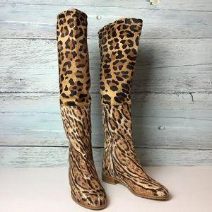 New Stuart Weitzman Animal Print Calf Hair Boots